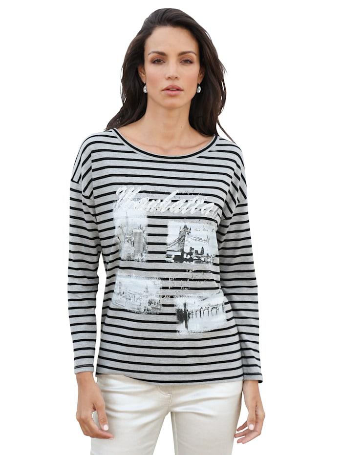 AMY VERMONT Shirt mit Druckmotiv im Vorderteil, Grau/Schwarz