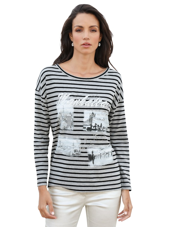 AMY VERMONT Shirt met print voor, Grijs/Zwart