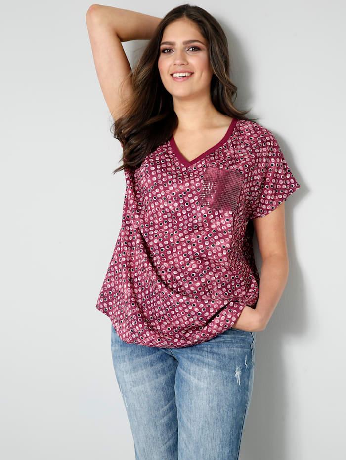 Janet & Joyce Blusen-Shirt mit Brusttasche aus Pailletten, Aubergine/Rosenholz