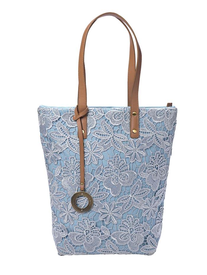 Emma & Kelly Handväska med spets, jeansblå