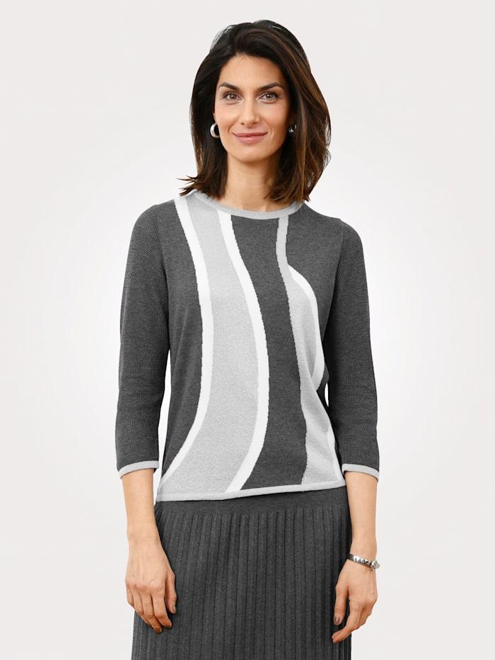 MONA Pullover mit Intarsienstrick, Grau/Weiß/Silberfarben