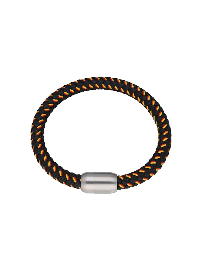 Jacques Charrel Armband schwarz, geflochten, in Deutschland-Optik mit Magnetverschluß, mehrfarbig