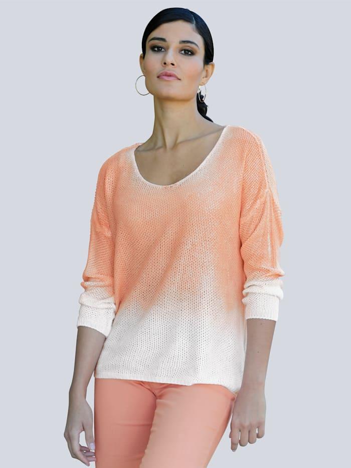 Alba Moda Pullover in Degradee-Optik, Off-white/Pfirsich