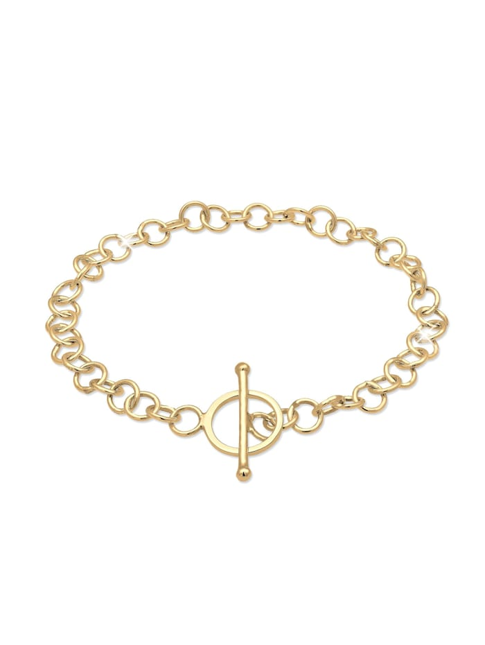 Elli Armband Basic Charmträger Ankerkette Geo Kreis 925 Silber, Gold