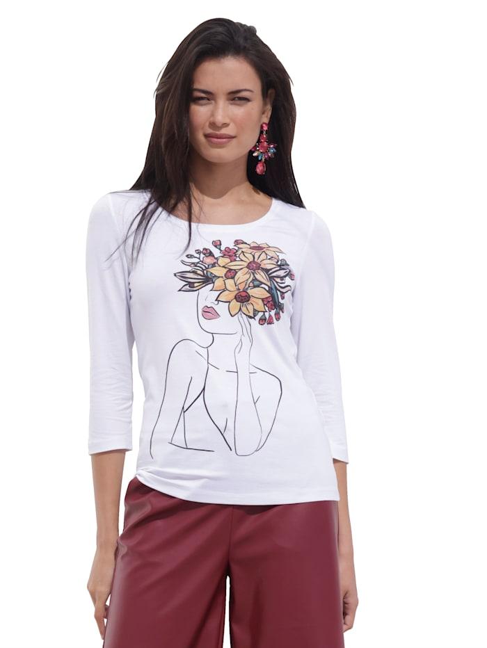 AMY VERMONT Shirt mit Druck im Vorderteil, Weiß/Gelb/Rot