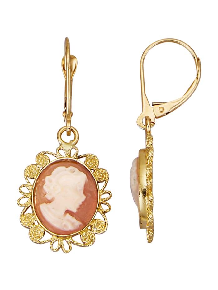 Amara Perles Boucles d'oreilles avec camée travaillé à la main, Multicolore