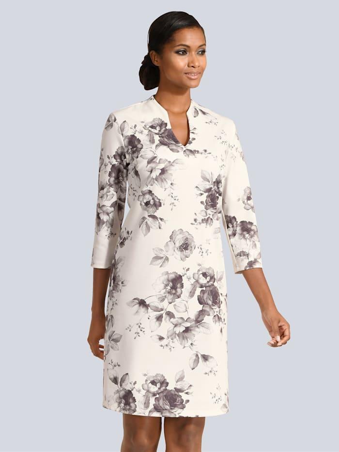 Alba Moda Kleid im floralen Dessin, Grau/Weiß