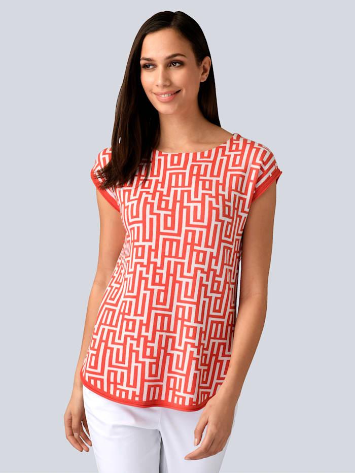 Alba Moda Pullover in tollem Grafik Dessin, Koralle/Off-white