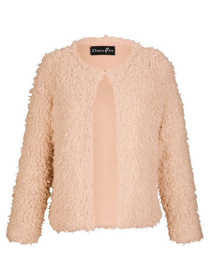 Dress In Flauschjacke in offener Form, Off-white