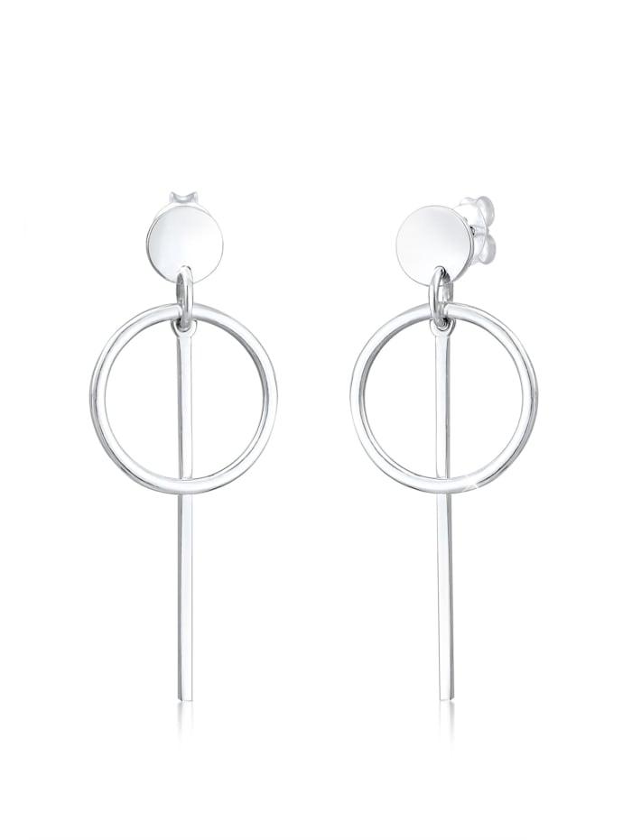 Elli Ohrringe Hänger Geo Kreis Basic Minimal Cool 925 Silber, Silber