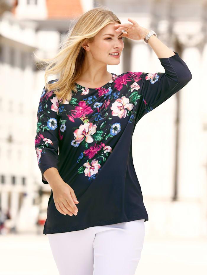 m. collection Shirt mit Blumendruckmuster, Marineblau/Multicolor