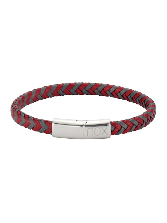 nox Armband Edelstahl 21,5cm Glänzend, rot/grau
