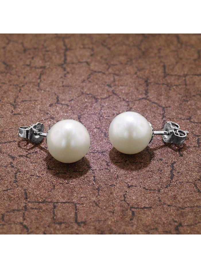 Silber Perl-Ohrringe Süßwasser-Zuchtperlen Weiß