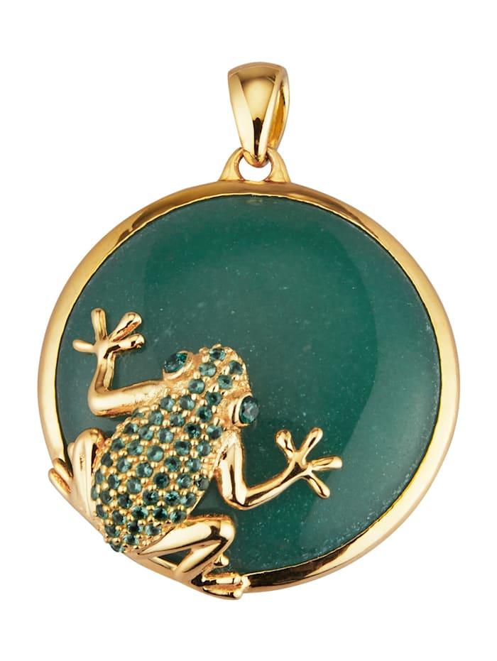 "Pendentif ""grenouille"" avec cabochon d'aventurine, Vert"