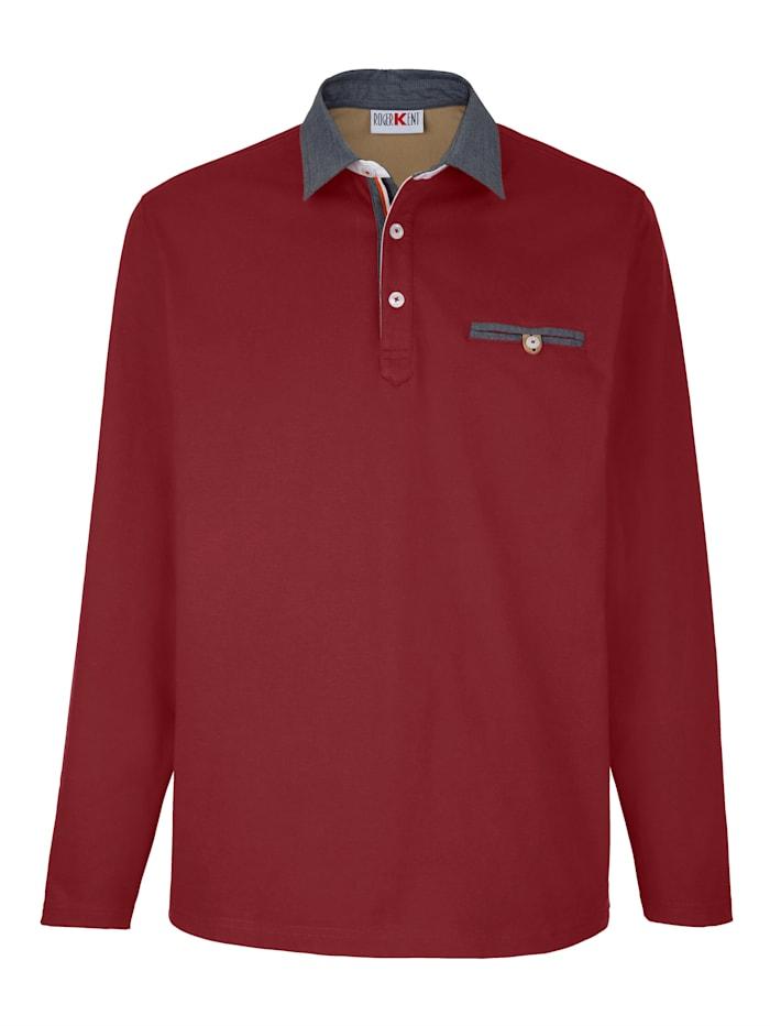 Roger Kent Poloshirt mit Chambray-Details, Rot