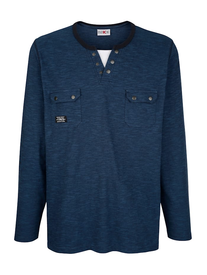 Roger Kent Langarmshirt mit praktischen Brusttaschen, Blau
