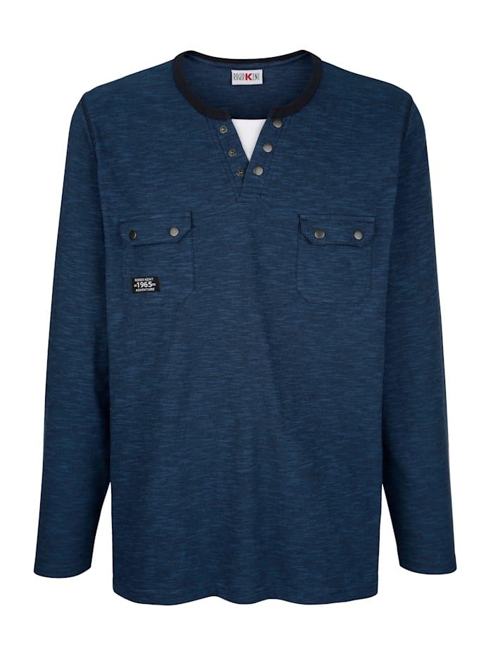 Roger Kent T-shirt met praktische borstzakken, Blauw