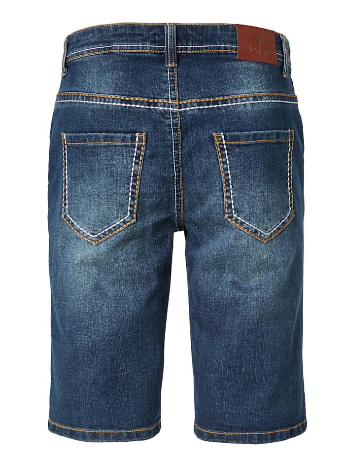 Bermuda en jean à surpiqûres mode épaisses