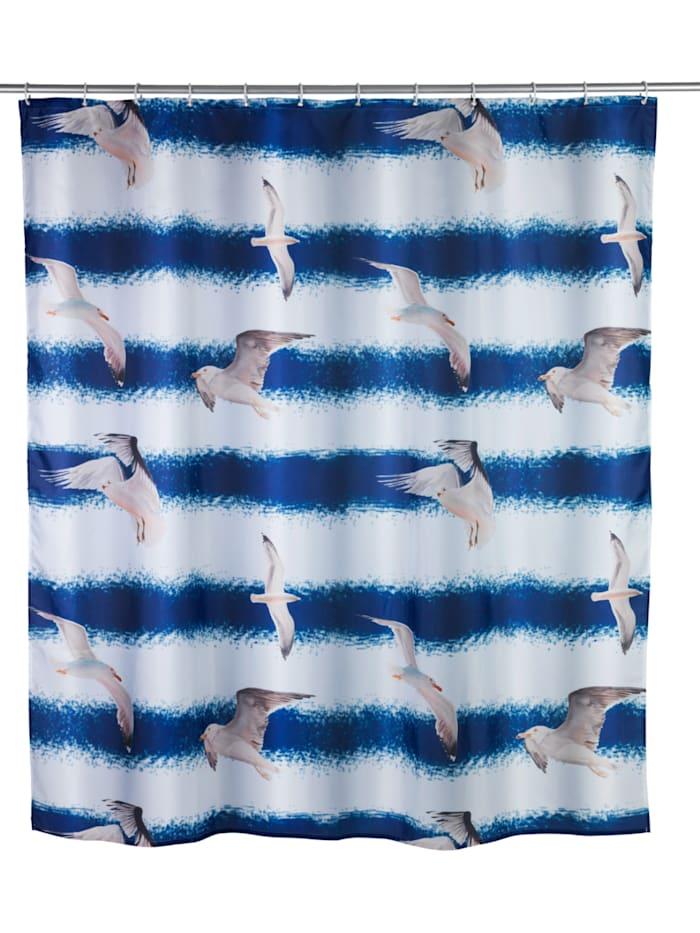 Wenko Duschvorhang Seagull, Textil (Polyester), 180 x 200 cm, waschbar, Mehrfarbig