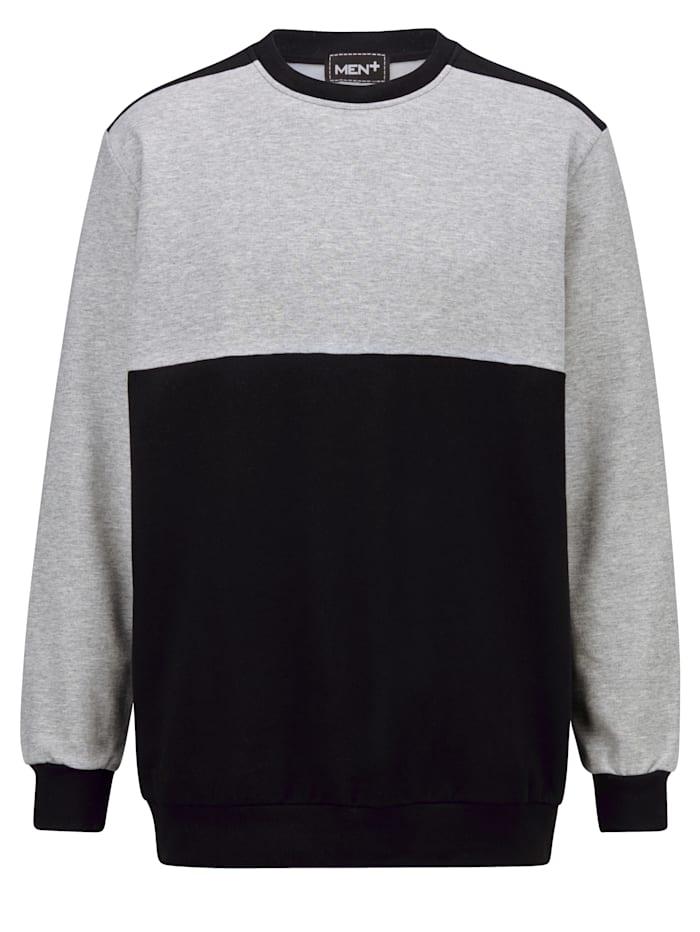 Men Plus Sweatshirt aus reiner Baumwolle, Schwarz/Grau