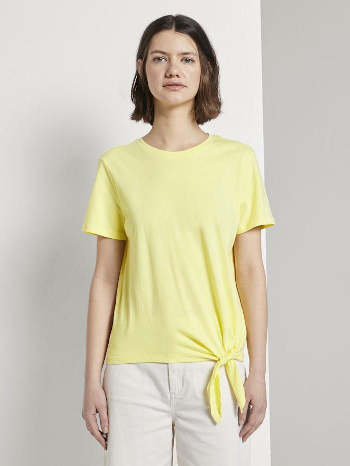 Tom Tailor Denim Lockeres T-Shirt mit Knotendetail, daffodil yellow
