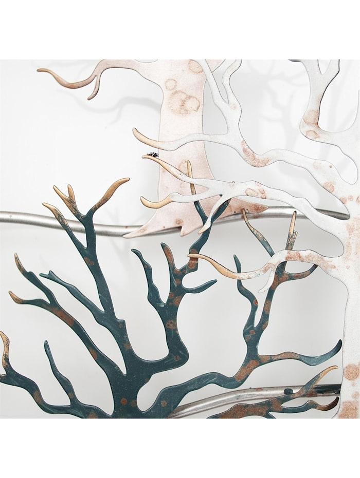 NTK-Collection Wanddeko Bäume, Grau, Gold, Braun