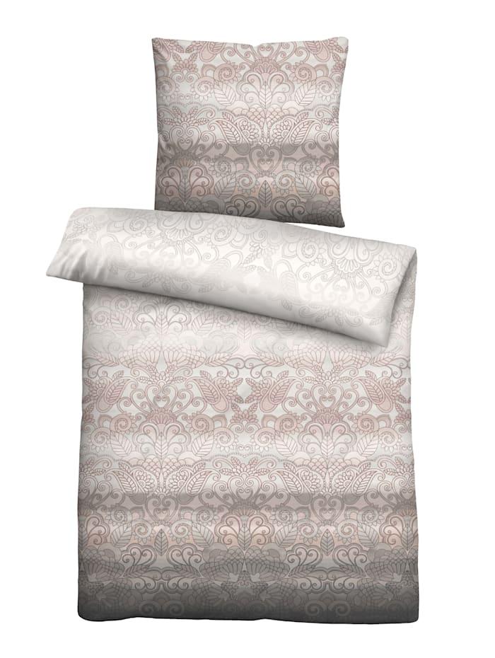 Biberna Parure de lit 2 pièces Lara en flanelle, Basalte