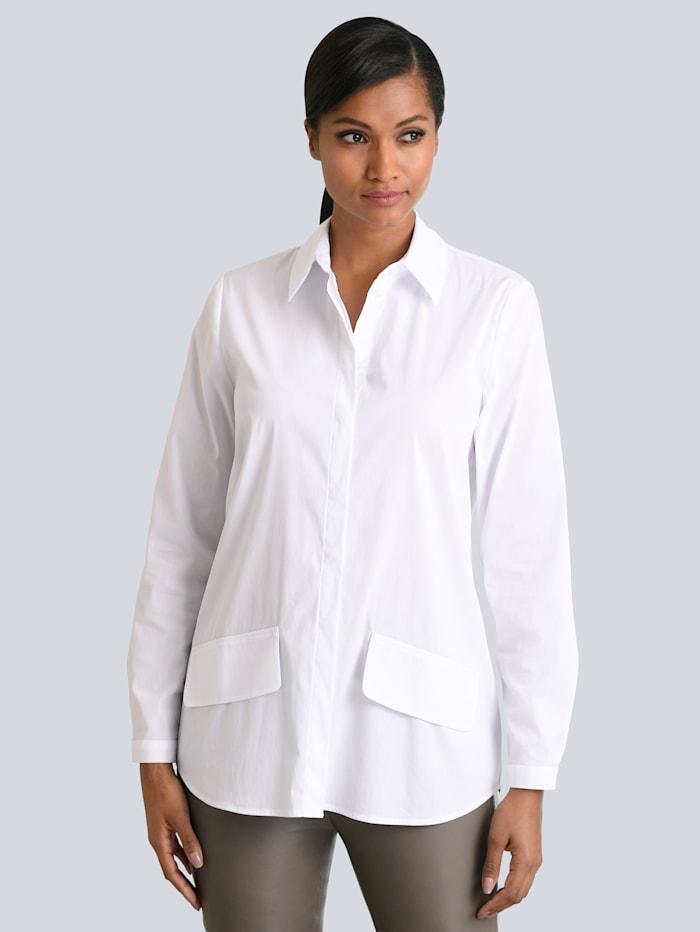 Alba Moda Bluse mit Taschenapplikation, Weiß