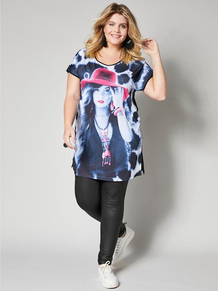 Angel of Style Longshirt met print, Zwart/Wit