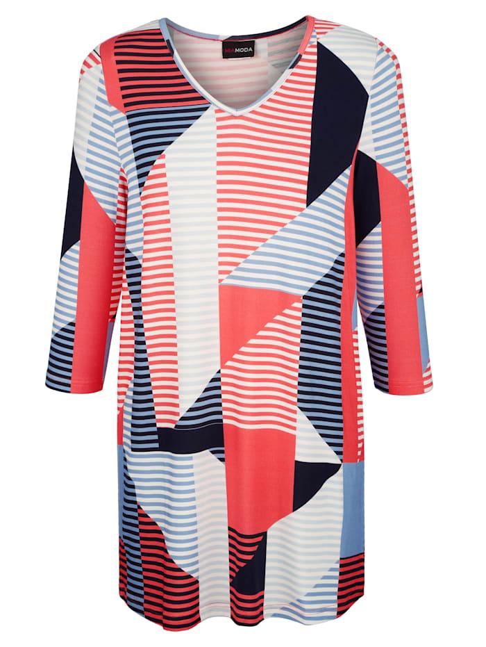 MIAMODA Topp med grafiskt mönster, Korall/Blå