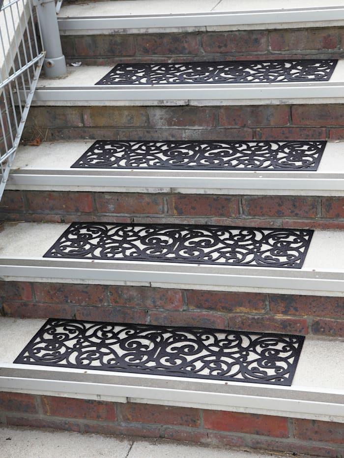 UBTC Lot de 4 tapis pour marches d'escalier 'Antik', Noir