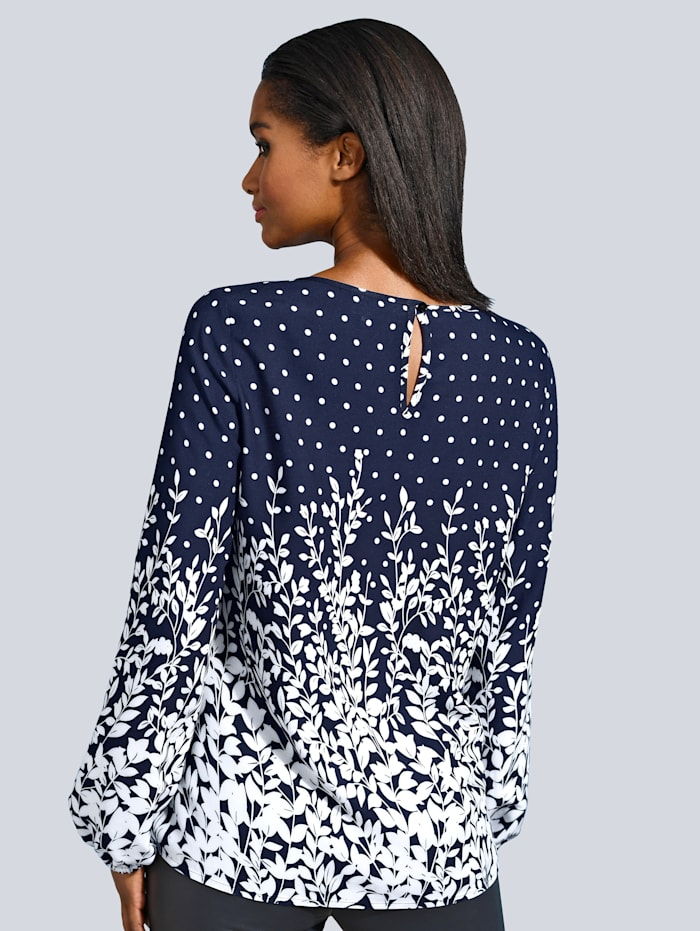 Bluse in tollem Punkte und floral Muster