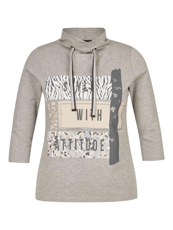 Thomas Rabe Shirt mit Front-Print und Stehkragen, ANTHRAZIT