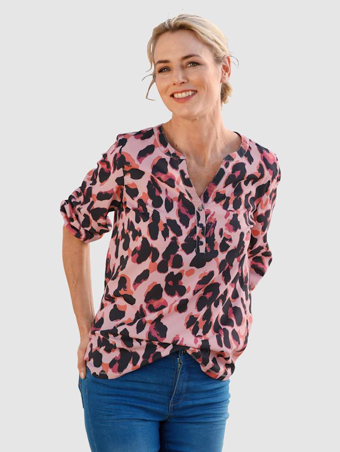 Dress In Blouse met animaldessin, Roze