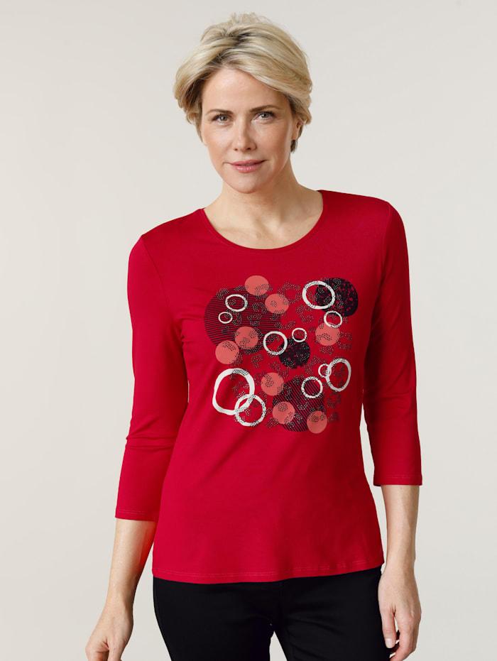Barbara Lebek Shirt van jersey, Rood/Zwart