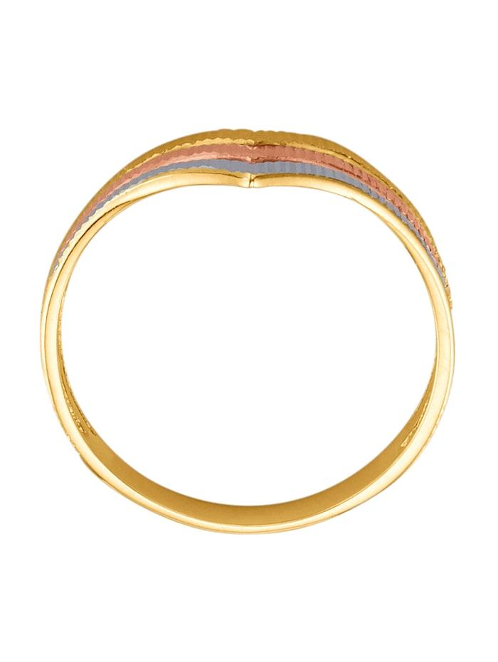 Bague en or jaune et or rose 375, partiellement rhodié en or jaune et or rose 375