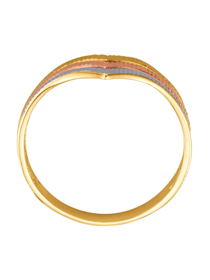 Ring i gult gull og roségull 375