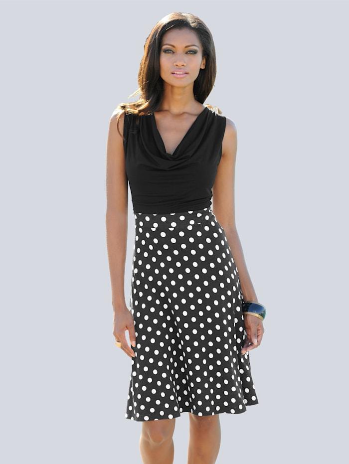 Alba Moda Strandkleid mit Wasserfallausschnitt, schwarz/weiß