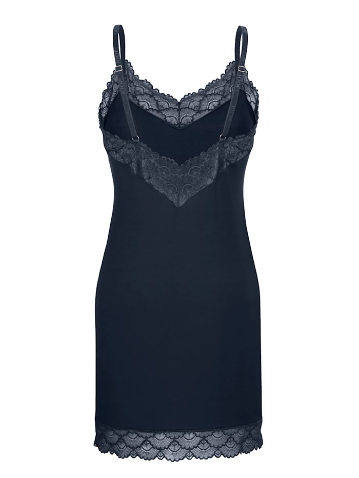 Negligee with sheer lace trim