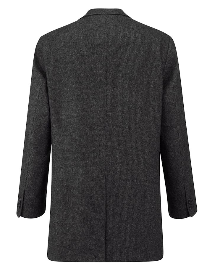 Manteau en laine à motif chevrons en tissé-teint