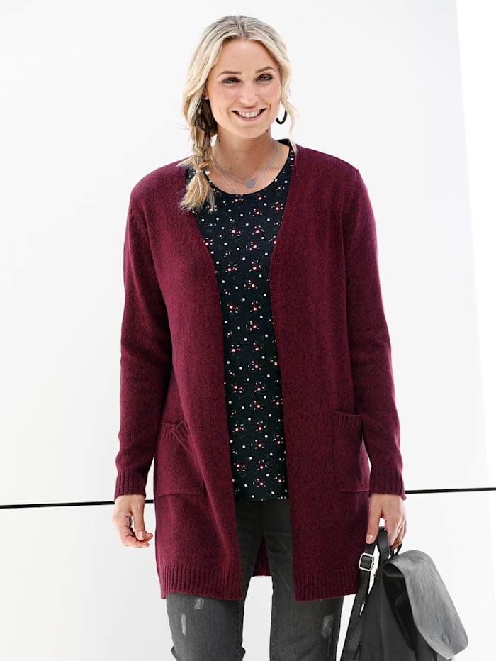 MIAMODA Longstrickjacke in offener form, Bordeaux