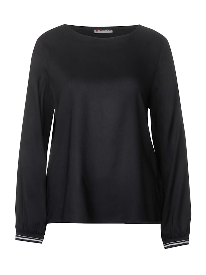 Street One Bluse in Unifarbe, Black
