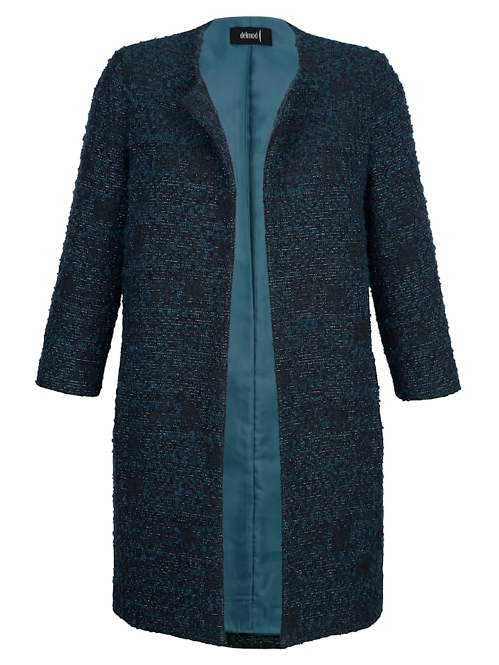 Longline jacket made from bouclé with shimmering thread