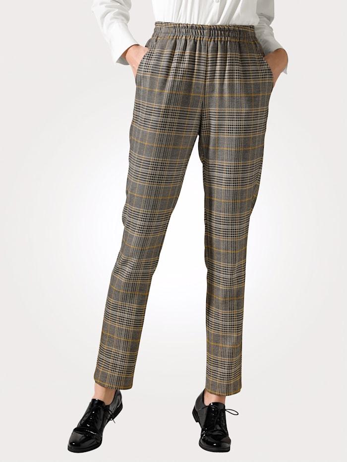 MONA Pantalon facile à enfiler à motif à carreaux tissé-teint, Ocre/Noir