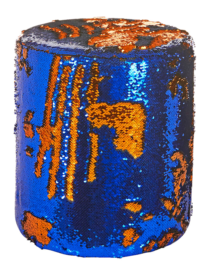 IMPRESSIONEN living Paillettenhocker, blau/goldfarben