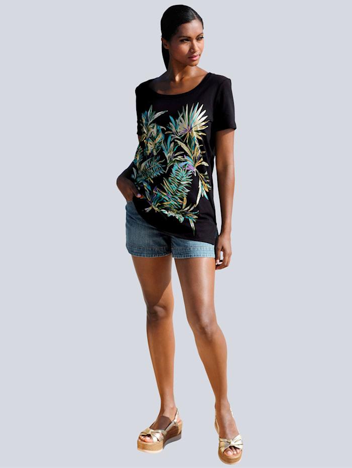 Alba Moda Strandshirt mit Frontdruck, Schwarz-Grün