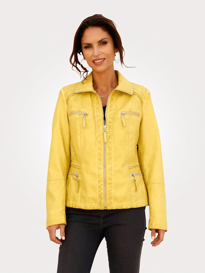 MONA Faux leather jacket in an on-trend design, Yellow