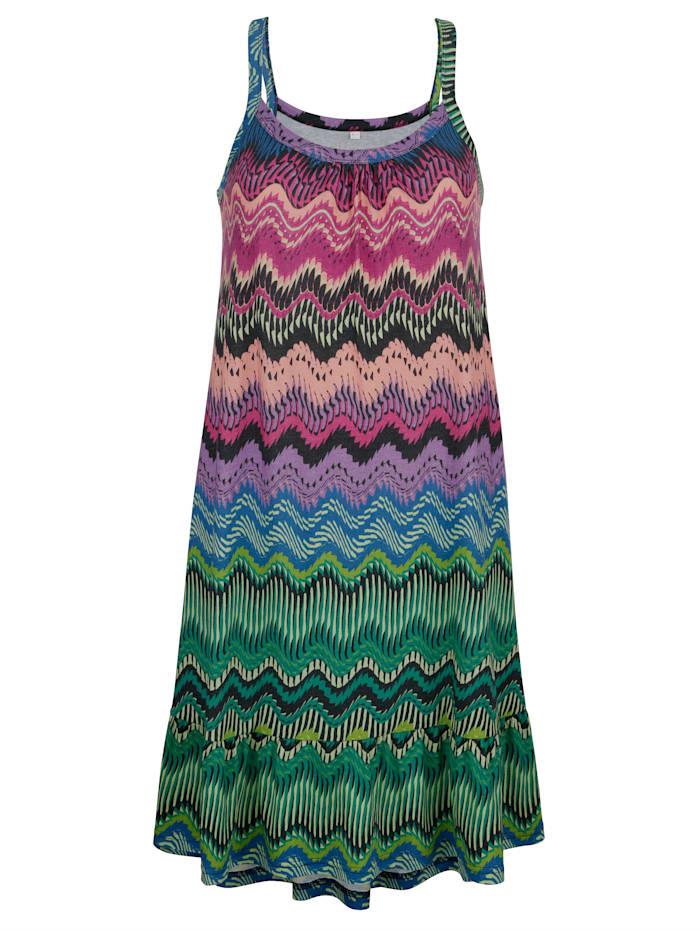 Maritim Strandklänning med volang nedtill, Turkos/Bordeaux/Grön