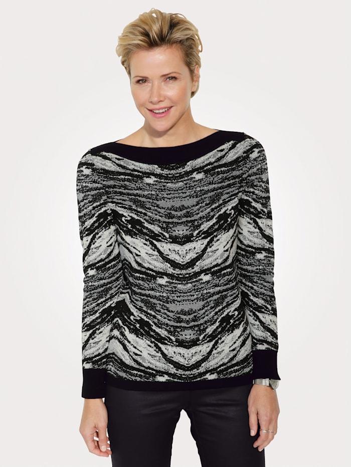 MONA Pullover mit effektvollem Glanzgarn, Schwarz/Weiß