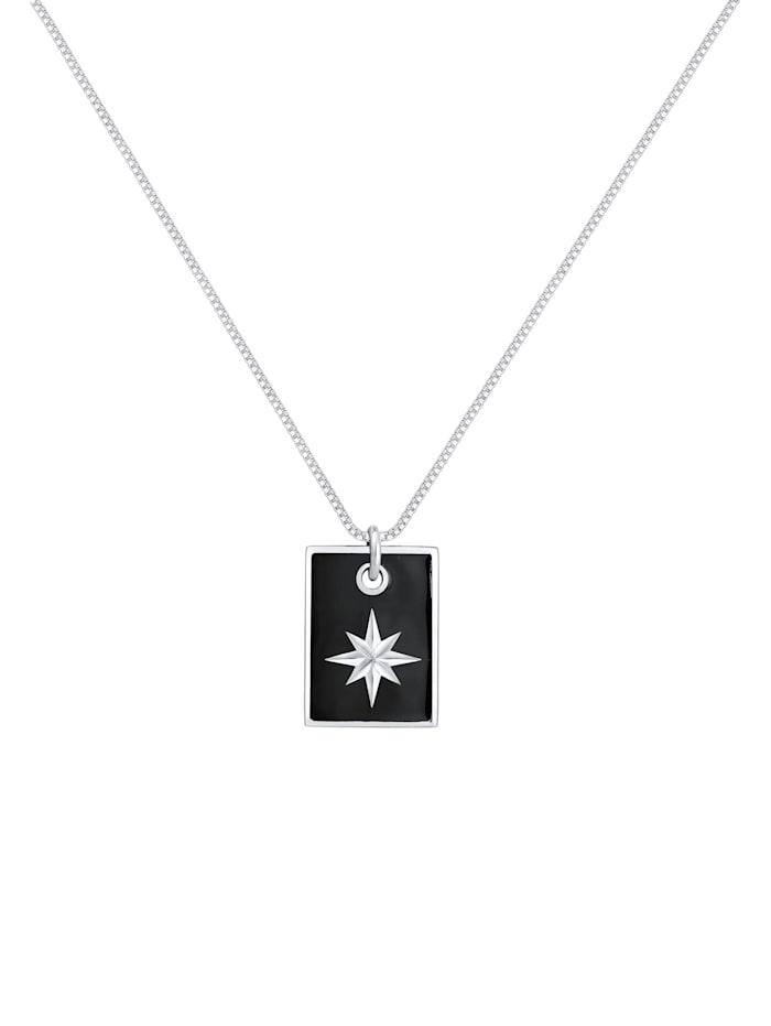 Halskette Dog Tag Militär Emaille Schwarz Stern 925 Silber